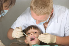 Dentist. The little girl on reception at the dentist Royalty Free Stock Images