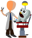 Dentist. Abstract dentist treating a cartoon tooth as a patient Stock Photography