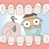 Dentist. An illustration of the open mouth and dentist Stock Images