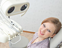 With a dentist. Girl in the room of the doctor dentist Stock Photos