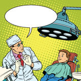 Dentist afraid happy boy. Pop art retro vector illustration. Medical humor Royalty Free Stock Photo