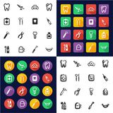 Dentist All in One Icons Black & White Color Flat Design Freehand Set Stock Image