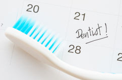 Dentist appointment date on calendar. Royalty Free Stock Photo