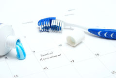 Dentist Appointment Reminder. A note of a dentist appointment on a calendar reminds the patient royalty free stock photos
