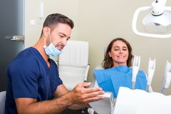 A Dentist attending a female Patient stock photo