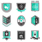 Dentist badges. Vector set of professional dentist medical badges Stock Photo