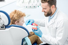 Dentist with boy at the dental office Stock Image