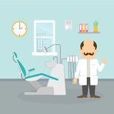 Dentist at the cabinet. Modern cabinet with equipment and tools. Professional man with moustache in white Royalty Free Stock Photography