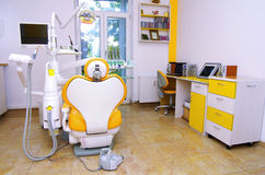 Dentist chair. In a medical dentistry cabinet Stock Photo