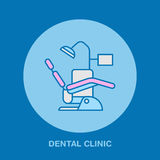 Dentist chair, orthodontics line icon. Dental care equipment sign, medical elements. Health care thin linear symbol  Stock Photo