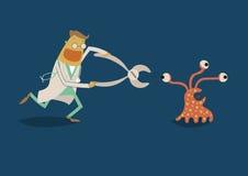 Dentist chase bacteria royalty free illustration