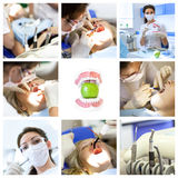 Dentist collage with different views at clinic Royalty Free Stock Photos