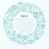 Dentist concept in circle with thin line icons vector illustration