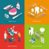 Dentist Concept 4 Flat Icons Square Royalty Free Stock Photos