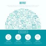 Dentist concept in half circle stock illustration