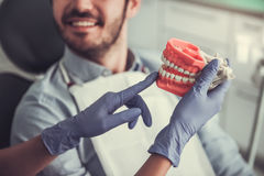 At the dentist. Cropped image of dentist holding a fake jaw, handsome young patient is smiling while sitting in chair at the dentist Stock Photography