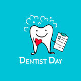 Dentist day, tooth character sketch for your design Royalty Free Stock Image