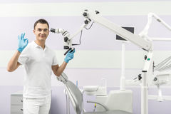 Dentist and dental equipment royalty free stock photo
