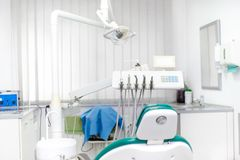 Dentist and dental modern equipment Royalty Free Stock Images