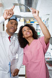 Dentist and dental nurse looking at x ray Stock Images
