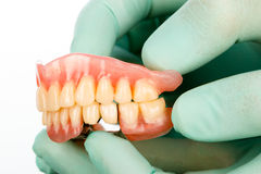 Dentist with dental prostheises Royalty Free Stock Images