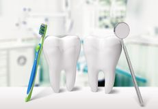 Dentist. Human teeth toothbrush dental hygiene white three-dimensional shape Royalty Free Stock Photography