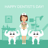 Dentist doctor with a bouquet of flowers. Two healthy beautiful white teeth. Greeting card. International day of the Stock Image