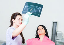 Dentist doctor showing xray to female patient Royalty Free Stock Photography