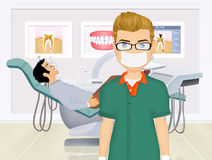 Dentist doctors office and patient with toothache Stock Photography