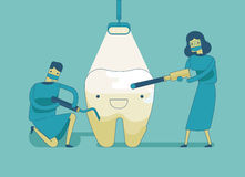 Dentist doing a dental treatment the tooth Stock Photos