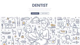 Dentist Doodle Concept. Woman dentist and patient during dental procedure. Dental office, tools and equipment. Doodle concept of dentistry for web banner, hero stock illustration