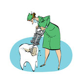 The dentist drills a tooth humorous illustration Royalty Free Stock Images