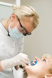 At dentist examination stock photo
