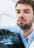 Dentist examines the x ray image Royalty Free Stock Photos