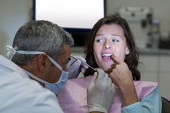 Dentist examining a female patient with tools Stock Image