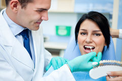 Dentist examining a whiteness of teeth of a patient Royalty Free Stock Image