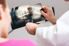 Dentist explaining x-ray to patient Royalty Free Stock Image