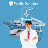 Dentist, family dentistry concept, vector illustration Royalty Free Stock Photos