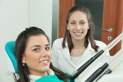 Dentist and female patient Stock Photo