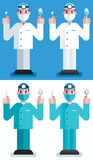 Dentist. Flat design illustration of dentist in 4 color versions Royalty Free Stock Photo