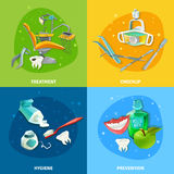 Dentist 4 Flat Icons Square Banner Royalty Free Stock Images