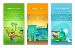 Dentist 3 Flat Vertical Banners Set Stock Photography