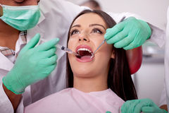 Dentist giving anesthesia to the patient Royalty Free Stock Images