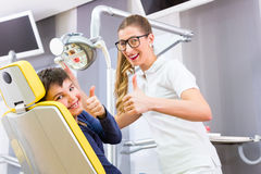 Dentist giving boy advice in dental surgery Royalty Free Stock Photography