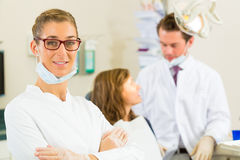 Dentist in her surgery Royalty Free Stock Photography