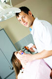 Dentist and his patient Stock Photos