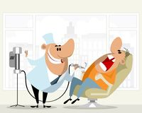 Dentist and his patient. Vector illustration of a dentist and his patient Royalty Free Stock Photos