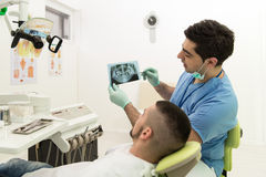 Dentist Holding X-Ray And Examse White Patient. Dentist , Assistant And Patient Looking At Tooth X-Ray Royalty Free Stock Photo