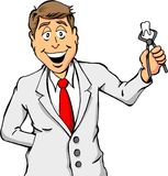 Dentist Holding a Tooth. Cartoon of a Dentist Holding a Tooth Royalty Free Stock Photo