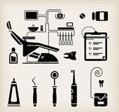Dentist icon. Vector set of dentist icons and teeth care Stock Photography